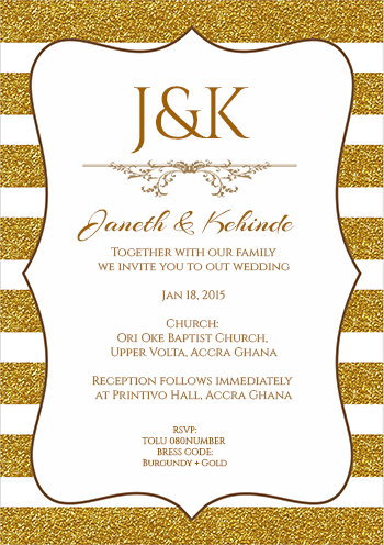 Customise Your Design Wedding Invitations Gold Lines